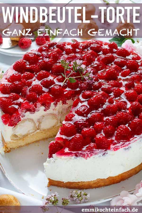 Windbeutel-Torte mit Himbeeren - www.emmikochteinfach.de