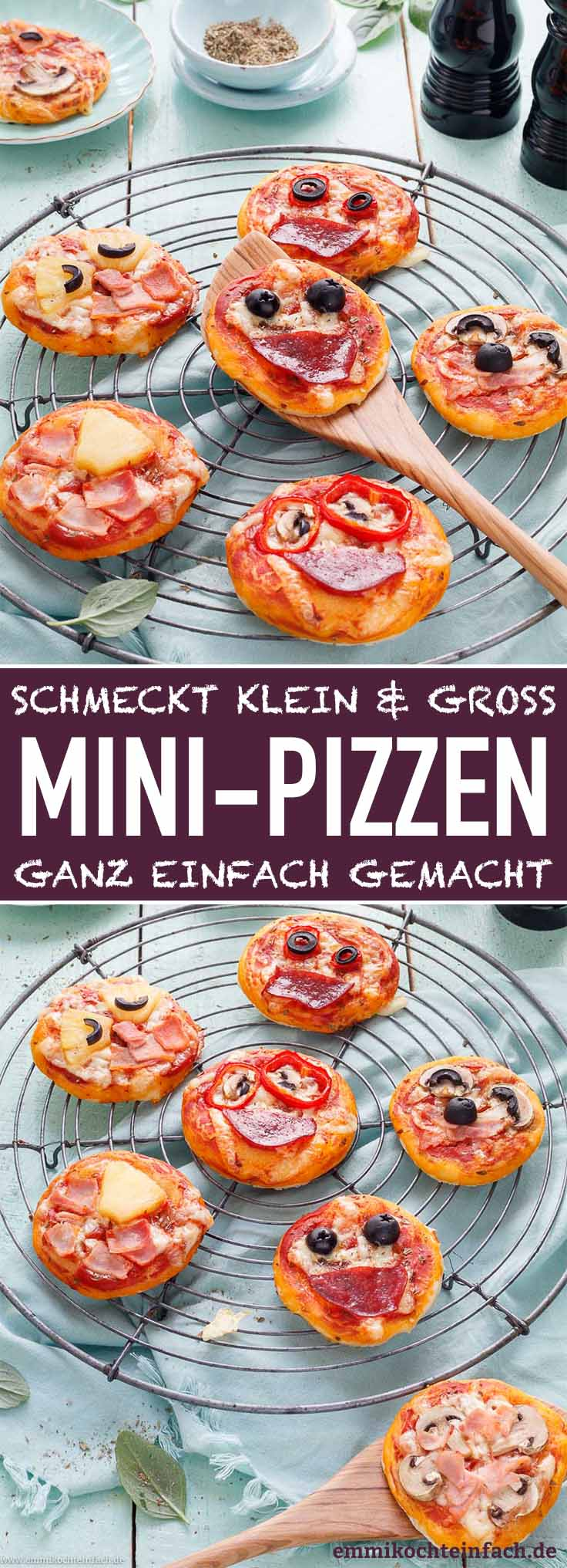Mini Pizza - kleine Pizzen einfach selbst gemacht - www.emmikochteinfach.de