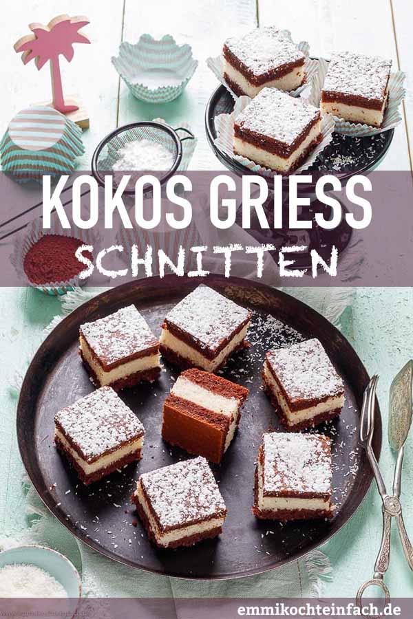 Saftiger Kokosschnitten mit Griessschicht - www.emmikochteinfach.de