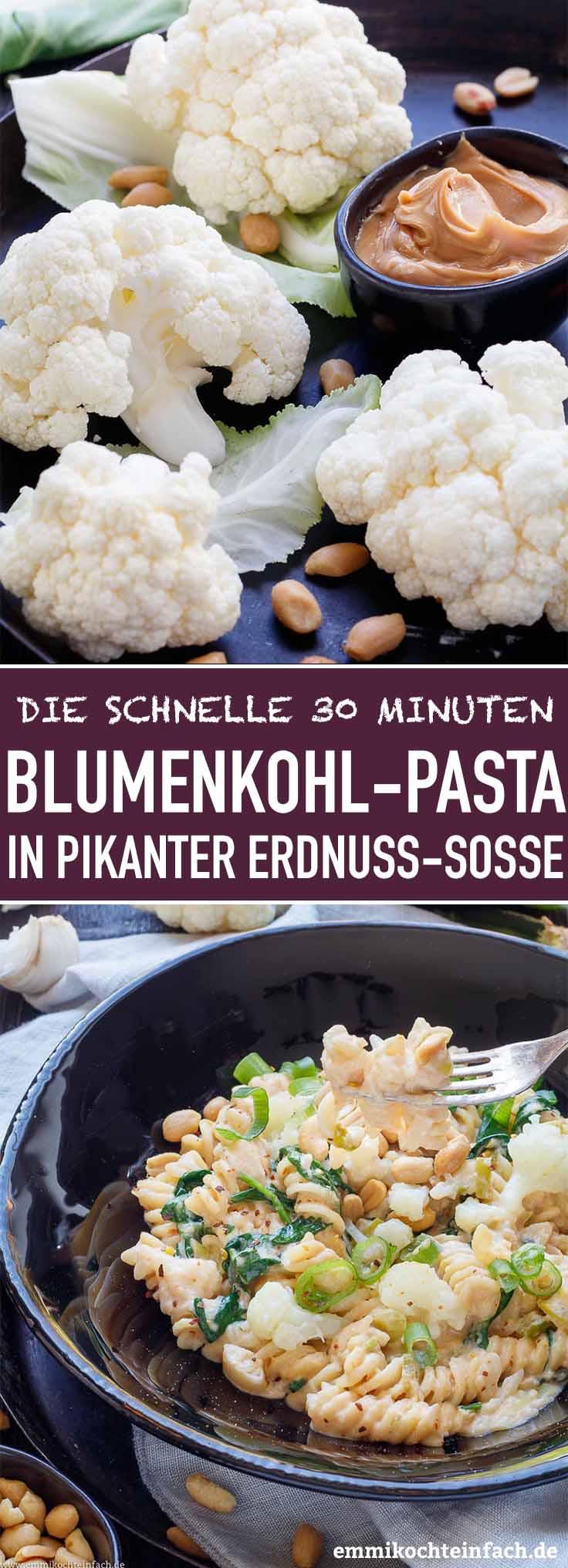 Blumenkohl Pasta in pikanter Erdnussbuttersoße - www.emmikochteinfach.de