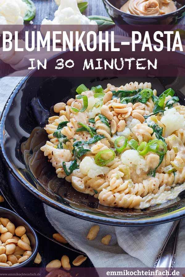 Vegetarische Nudeln mit Blumenkohlgemüse - www.emmikochteinfach.de