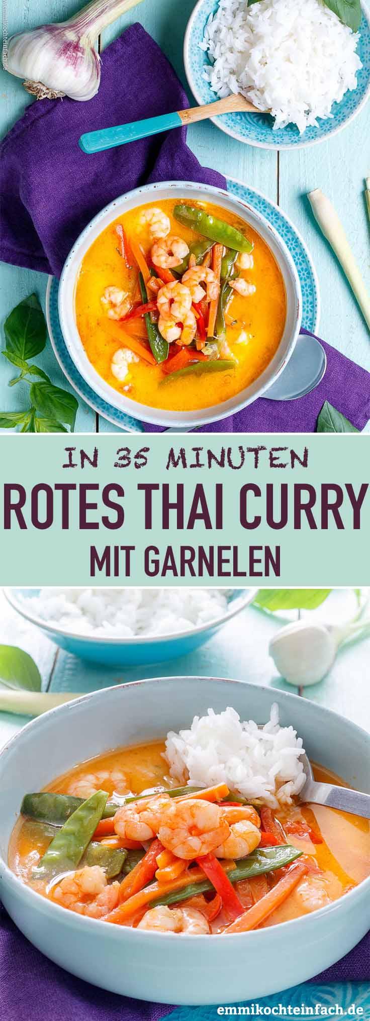 Rotes Thai Curry mit Garnelen - www.emmikochteinfach.de