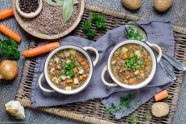 Vegetarische Linsensuppe als Eintopf - www.emmikochteinfach.de