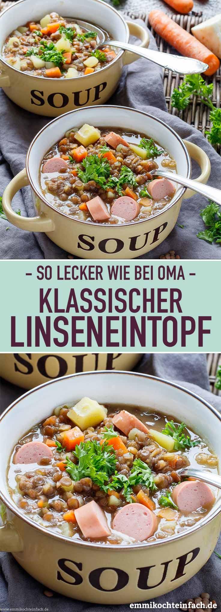 Klassischer Linseneintopf - www.emmikochteinfach.de